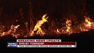 Field near Packard Proving Grounds catches fire in Shelby Township - Video
