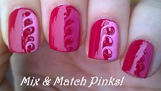 Mix & match drag marble pink toothpick nail art - Video