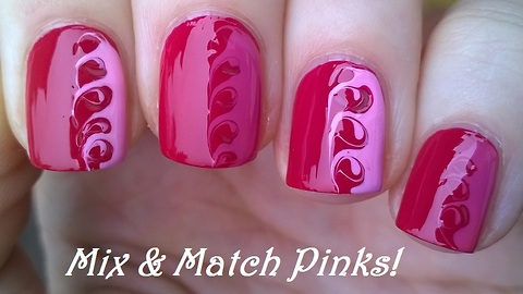 Mix & match drag marble pink toothpick nail art