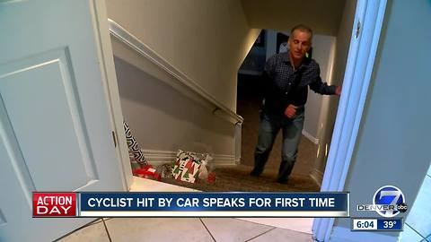 Cyclist badly hurt after being hit by car speaks to Denver7