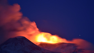 Beautiful nighttime footage of Mount Etna volcanic eruption