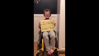 Nine-year-old boy shares touching message about medical condition - Video