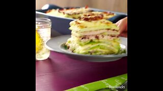 Chayote gratin with bacon