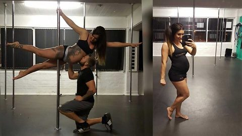 Watch: Mum pole dances with newborn baby – and claims doing sport while pregnant helps labour