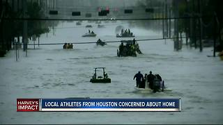Football players from Houston worry about hometown - Video