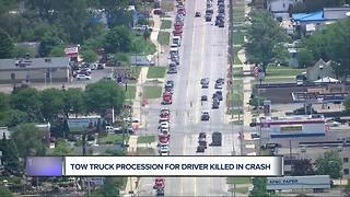 Tow truck procession for driver killed in crash