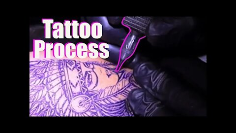 ✅Process of Tattooing an Indian and a wolf. 👀(Close up, with real time)
