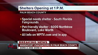 Palm Beach County ordering mandatory evacuations, opening shelters