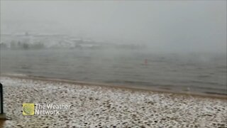Light snow covers beach in Southern British Columbia