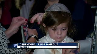 Bayside boy gets his first haircut in 'upshernish' ceremony - Video