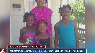 Memorial grows for four sisters killed in house fire - Video