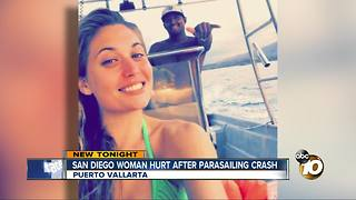 San Diego woman injured after parasailing crash in Mexico - Video