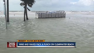 Clearwater Beach submerged during Friday's high tide