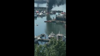 Boat explodes and catches fire at Sunderland Marina in England
