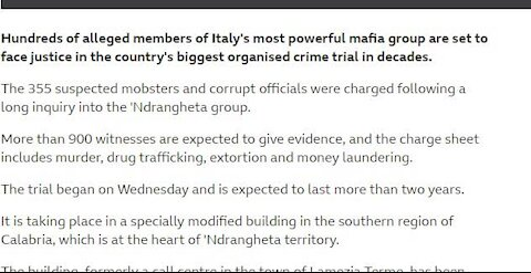 Italy's most powerful mafia group Ndrangheta group: Biggest mafia trial opens 355 mobsters JAN 14