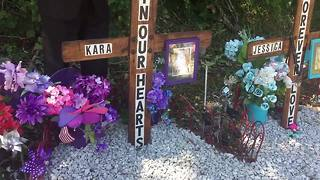 Mourners pay respects to Kara Kopetsky and Jessica Runions at memorial - Video