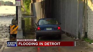 Heavy rain causes flooding in Detroit