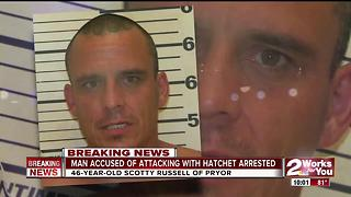 Man arrested for attacking people with hatchet - Video