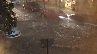 Motorists in Frederick, Maryland, Defy Warnings Not to Drive on Flooded Streets