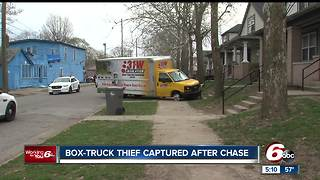 Suspect caught after box truck with 3 tires involved in chase with police - Video