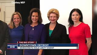 Michigan Democrats unite at downtown event day after primary - Video