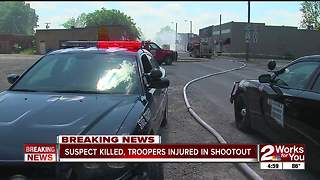 Suspect killed, troopers injured in shootout - Video