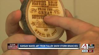 Kansan makes art from fallen snowstorm branches - Video