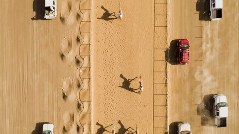 Stunning aerial views of camel racing spectacle caught on camera