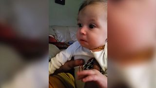 Baby Cries When Dad Hums - Video