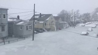 Floodwater Swamps Cars in Revere - Video