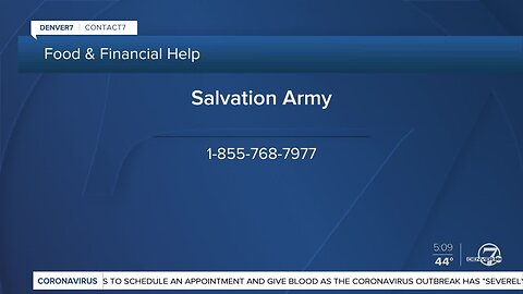 Salvation Army offering food boxes and rent and utility assistance