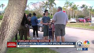 Stoneman Douglas students return to their school - Video