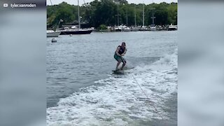 Wakeboard jump ends in comical failure