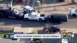 Triple murder suspect in Phoenix shot himself - Video