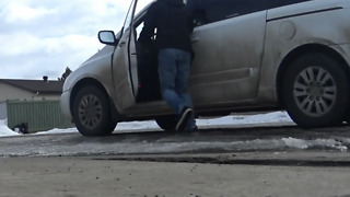 A Man Chases after his Moving Car - Video