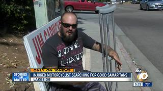 Injured motorcyclist searching for Good Samaritans - Video