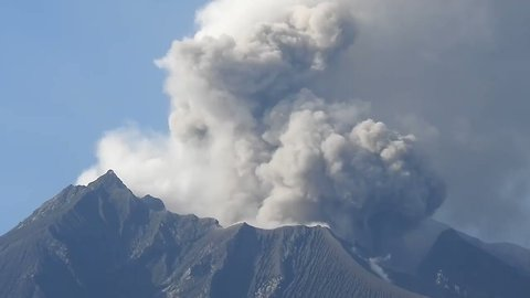 Plumes of Smoke Rise From Japan's Most Active Volcano