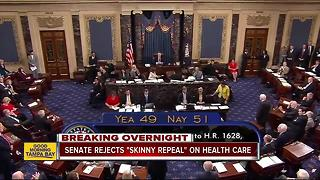 GOP dealt stiff blow to reform health care after Senate rejects measure to repeal 'Obamacare' - Video