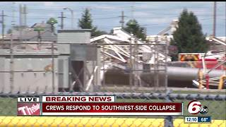 Large structure collapses outside Rolls-Royce on Indy's southwest side - Video