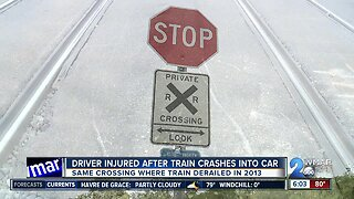 Dramatic video shows train crashing into car