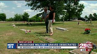 Muskogee military graves desecrated - Video