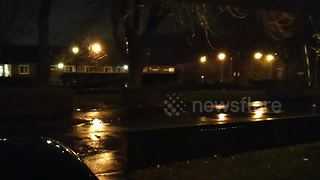 Lightning and heavy rain hit Birmingham during Storm Eleanor - Video