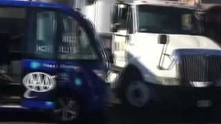 Driverless shuttle involved in crash - Video