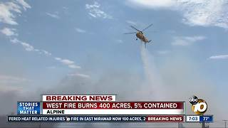 West Fire burns 400 acres, 5 percent contained - Video