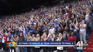 KU fans celebrate as team advances to Final 4