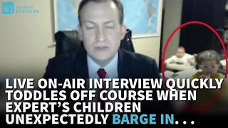 Live On-Air Interview Toddles Off Course, When Expert's Children Unexpectedly Barge In - Video