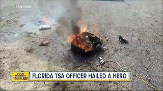 Florida TSA officer hailed a hero after grabbing smoking bag to protect passengers - Video