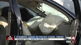 Woman leads police on a high speed chase after stabbing - Video