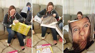 Prankster films sister receiving portrait of his face on blanket