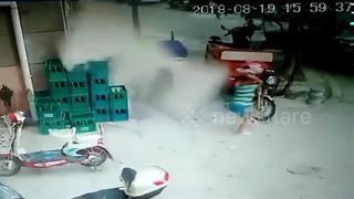 Close call: boy escapes being crushed by falling cladding